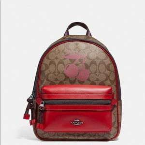 Coach Medium Charlie Backpack With Cherry Motif